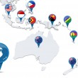 Map of oceania with national flags — Stock Photo #50730291