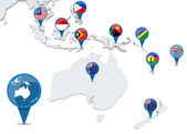 Map of oceania with national flags — Stock Photo