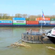Cologne - Germany - circa april 2013 - Barge loaded with containers for export — Stock Video