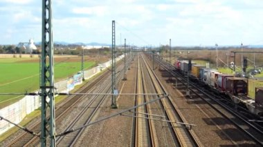 Cologne - circa april 2013 - Freight train with many containers — Stock Video