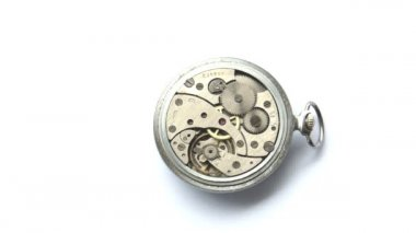 Old russian pocket watch caliber — Stock Video