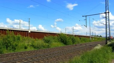 Cologne - circa may 2013 - Freight train with many cargo containers — Stock Video