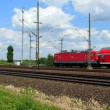 Cologne - circa june 2013 - Two red regional trains in Germany — Stock Video