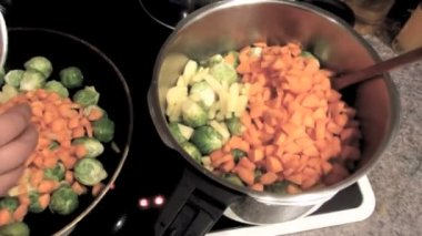 Brussels sprouts, carrots and potatoes for a stew — Stock Video
