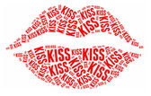 Lipstick kiss in word cloud — Photo