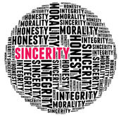 Sincerity in word cloud with several positive qualities and char — Stock Photo