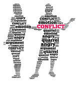 Conflict in word cloud — Stok fotoğraf