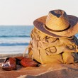 Rucksack on the beach — Stock Photo