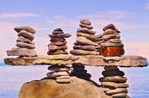 Pebbles on a top of boulder — Stock Photo