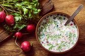 Vegetables in a glass cucumber radish and fresh herbs Russian okroshka cold summer — Stock Photo