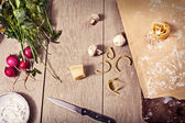 Vegetables cheese and pasta on the table — Stock Photo