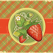 Strawberries vintage background.Vector label illustration — Stock Vector