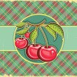 Cherries background.Vector vintage label on old paper texture — Stock Vector