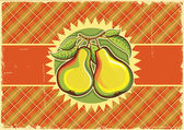 Pears vintage label background on old paper texture — Stock Vector