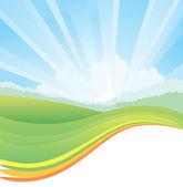 Paesaggio naturale con la luce solare — Vettoriale Stock