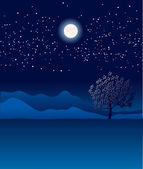 Lonely tree in night landscape.Vector blue illustration — Stock Vector