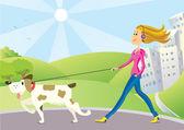 Woman and dog on walk — Stock Vector