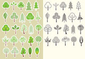 Trees.Vector collection of design elements isolated — Stock Vector