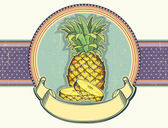 Pineapple vintage label illustration on old paper.Vector backgro — Stockvektor