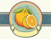 Vintage label illustratie op oude paper.orange vers fruit. — Stockvector