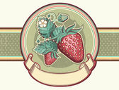 Vintage label with Red strawberries.Vector illustration for text — Stock Vector