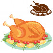 Roast chicken on plate .Vector food isolated on white — Stock Vector