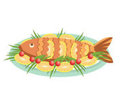 Vector cooked fish with lemons .Vector food isolated on white — Stock Vector