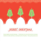 Christmas card.Vector red illusrtration with trees and snow — Stock Vector