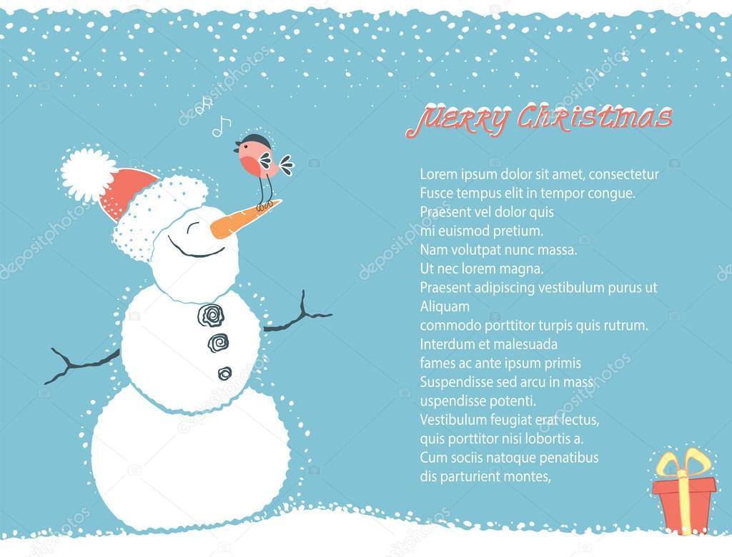 carte de fond hiver no235l avec bonhomme de neige pour texte