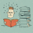 Student and books.Vector man tired of reading and want to sleep — Stok Vektör