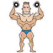 Bodybuilder.Vector isolated on white. — Stock Vector