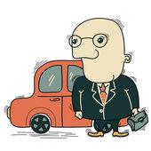 Businessman and car — Stock Vector