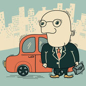 Businessman and car in big city — Stock Vector