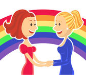 Young lesbian couple of women — Stock Vector