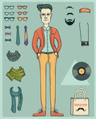 Hipster man . — Stock Vector