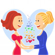 Stock Vector: Smiling and happy lesbian couple of women