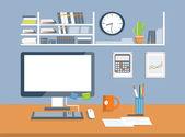 Interior office room.Flat design style — Stock Vector