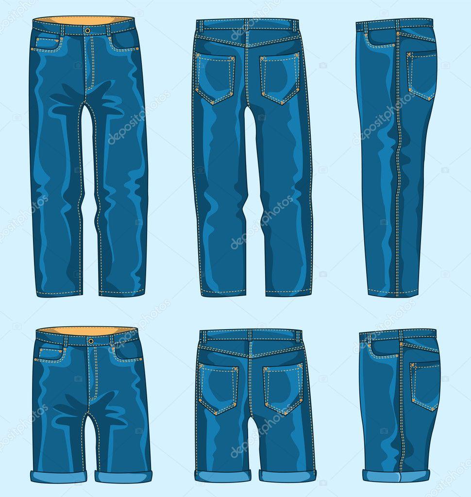 Man jeans pants and shorts — Stock Vector © NPetrushka ...