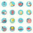 Flat icons.Elderly people and objects for life — Stock Vector