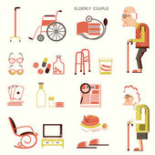 Elderly people and objects for life — Stock Vector