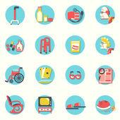 Düz icons.elderly insanları ve nesneleri ömür boyu — Stok Vektör