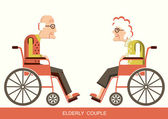 Elderly people.Pensioners in a wheelchairs — Stock Vector