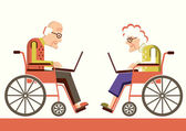 Pensioners in a wheelchairs with laptops — Stock Vector