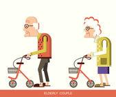 Elderly people with walkers — Stock Vector