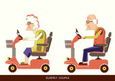 Old people drive by mobility scooter — Stock Vector