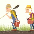 Elder couple gardeners — Vector de stock
