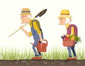 Elder couple gardeners — Stock Vector