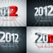 2012 Happy New Year Set - Stock Vector