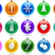 Stock Vector: Big Christmas balls set