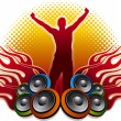 DJ and speakers - Stock Vector